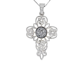 Silver Color Drusy Sterling Silver Cross Enhancer With Chain