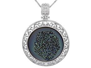 Green Drusy Quartz Sterling Silver Pendant With Chain