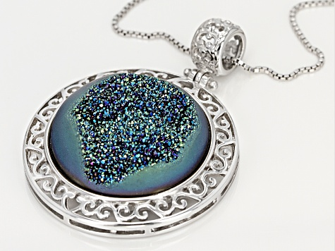 Green Drusy Quartz Sterling Silver Pendant With Chain