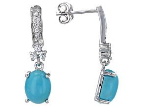 Blue Turquoise Sterling Silver Dangle Earrings .46ctw