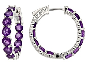 Purple African Amethyst Rhodium Over Sterling Silver inside/Outside Hoop Earrings 5.40ctw