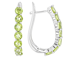 Green Peridot Rhodium Over Sterling Silver Hoop Earrings 3.80ctw