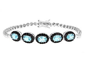 Blue Paraiba Color Apatite Sterling Silver Bracelet 4.32ctw