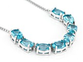 Blue Paraiba Color Apatite Sterling Silver Bolo Necklace 5.20ctw