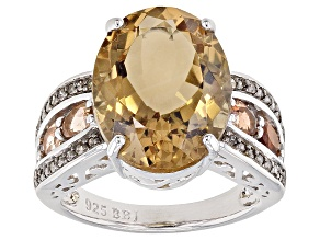 Brown Champagne Quartz Sterling Silver Ring 8.37ctw