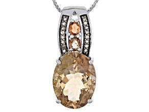 Brown Champagne Quartz Sterling Silver Pendant With Chain 8.00ctw