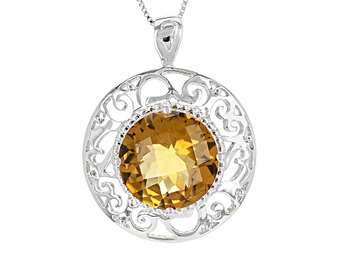 Brown Champagne Quartz Sterling Silver Pendant With Chain 8.07ct