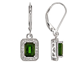 Green Chrome Diopside Sterling Silver Earrings 1.74ctw