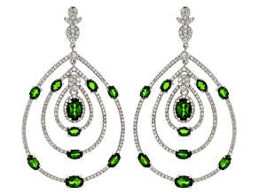 Green Chrome Diopside Silver Door Knocker Earrings 7.71ctw