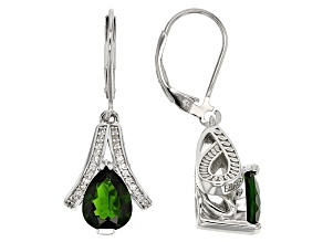 Green Chrome Diopside Sterling Silver Dangle Earrings 3.26ctw