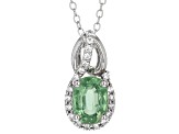 Green Mint Kyanite Sterling Silver Pendant With Chain 1.36ctw