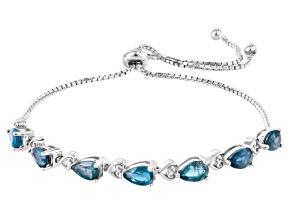 Blue Kyanite Sterling Silver Bolo Bracelet 2.68ctw