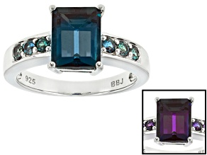 Color Change Lab Created Alexandrite Rhodium Over Sterling Silver Ring 3.32ctw
