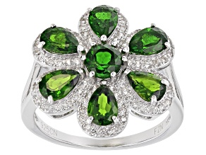 Green Chrome Diopside Sterling Silver Ring 3.85ctw