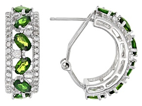 Green Chrome Diopside Sterling Silver J-Hoop Earrings 5.05ctw
