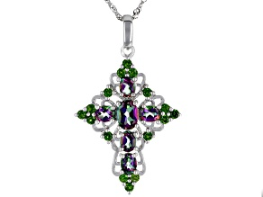 Green Mystic Topaz® Rhodium Over Sterling Silver Cross Pendant With Chain 3.46ctw