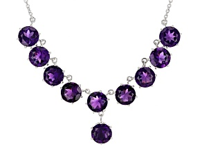 Purple African Amethyst Sterling Silver Necklace 15.49ctw