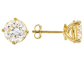 Fabulite Strontium Titanate 18k Yellow Gold Over Sterling Silver Stud Earrings 5.00ctw