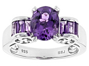 Purple Amethyst Sterling Silver Ring 2.01ctw