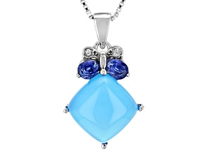 Blue Chalcedony Sterling Silver Pendant With Chain .34ctw