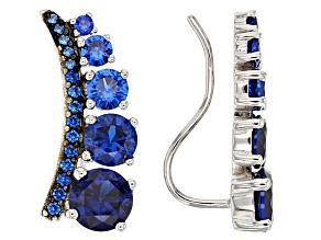 Blue Lab Spinel Sterling Silver Climber Earrings 4.01ctw