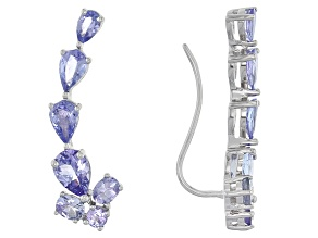 Blue Tanzanite Sterling Silver Climber Earrings 3.65ctw