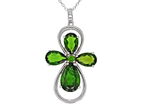 Green Chrome Diopside Silver Cross Pendant With Chain 6.25ctw