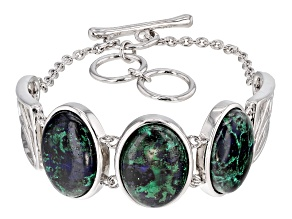 Multi-Color Green Azurmalachite Sterling Silver Bracelet