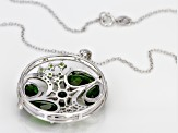 Green Chrome Diopside Sterling Silver Pendant With Chain 9.57ctw