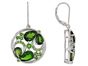 Green Chrome Diopside Sterling Silver Dangle Earrings 8.25ctw