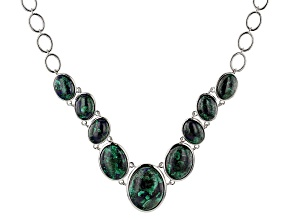 Multi-Color blue Azurmalachite Sterling Silver Necklace