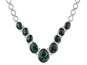 Multi-Color blue Azurmalachite Sterling Silver Necklace