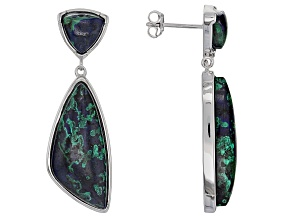 Multicolor blue Azurmalachite Sterling Silver Earrings