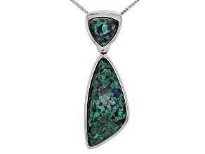 Multicolor blue Azurmalachite Silver Enhancer/Pendant With Chain