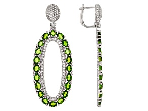 Green Chrome Diopside Sterling Silver Earrings 9.60ctw