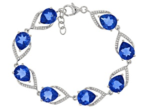 Blue Color Change Fluorite Sterling Silver Bracelet 26.95ctw