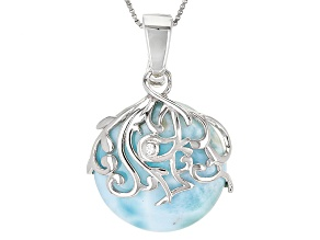 Blue Larimar Sterling Silver Enhancer With Chain .01ct
