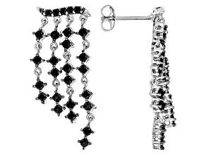 Black Spinel Sterling Silver Earrings 1.80ctw