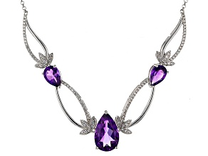Purple Amethyst Sterling Silver Necklace 7.17ctw