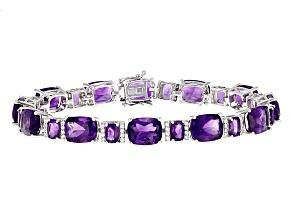 Purple Amethyst Sterling Silver Bracelet 35.71ctw