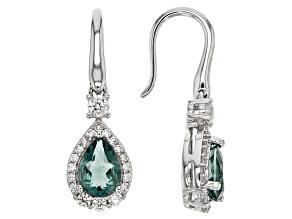 Blue Teal Fluorite Sterling Silver Earrings 3.38ctw