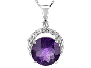 Purple Amethyst Sterling Silver Pendant With Chain 3.39ctw