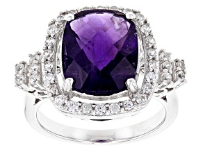 Purple Amethyst Sterling Silver Ring 4.69ctw