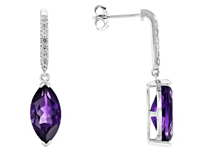 Purple Amethyst Sterling Silver Earrings 5.02ctw