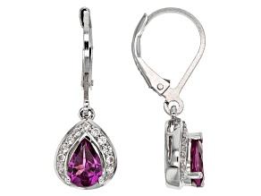 Purple Rhodolite Garnet Sterling Silver Earrings 1.59ctw