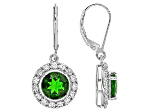 Green Chrome Diopside Sterling Silver Earrings 4.20ctw