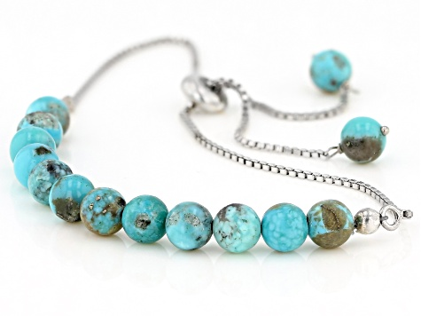 Blue Turquoise Sterling Silver Adjustable Bolo Bracelet
