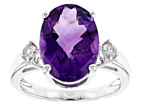 Purple African Amethyst Rhodium Over Sterling Silver Ring 5.13ctw