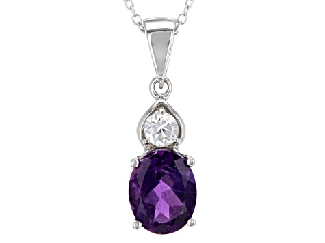 Purple Amethyst Sterling Silver Pendant With Chain 2.04ctw