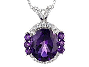 Purple Amethyst Sterling Silver Pendant With Chain 4.46ctw